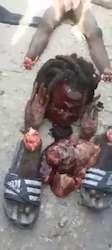 Rasta voleur découpé à Haïti et nourri de son schlong